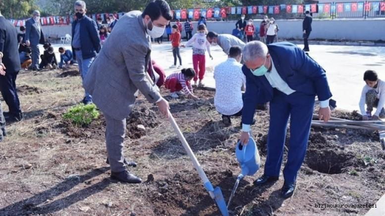 Ceyhan'da Anaokulu bahçesine 300 fidan dikildi